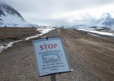 """""""Polar bear danger"""", Ny Alesund, Spitzberg Island, Northest Arctic Village, © Loïc Dorez."""