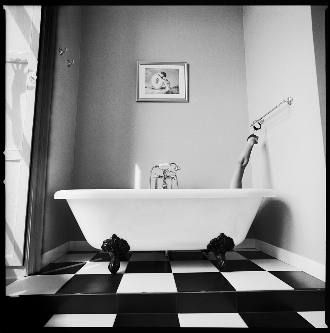 """But what happens in the bathroom?"", tribute to Psycho, Alfred Hitchcock, surrealism serie, © Loïc Dorez."