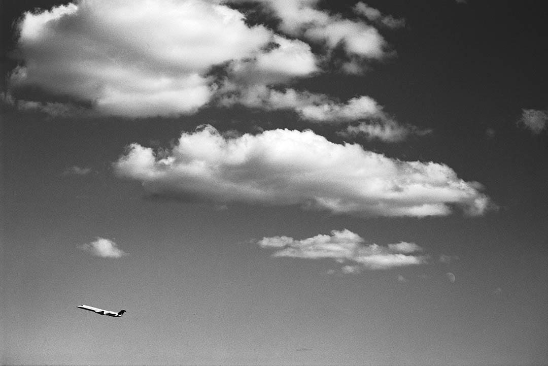 Privat jet in the sky of New York City