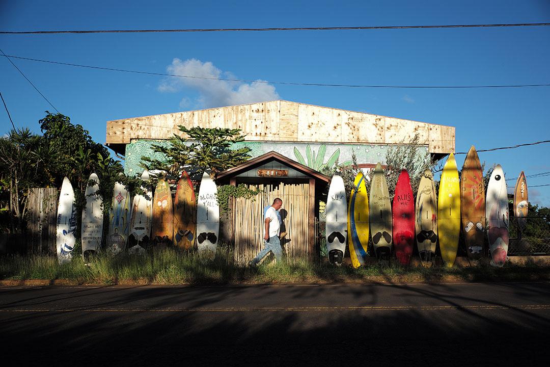 """The windsurf board house"", street photography on the beach, © Loïc Dorez."
