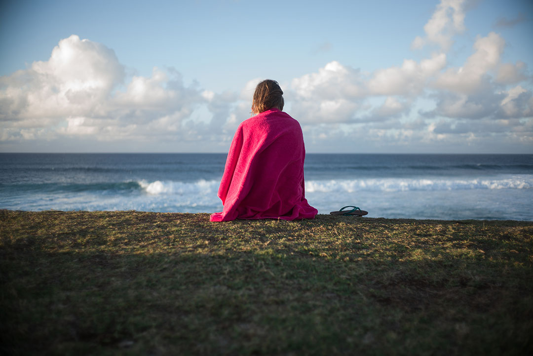 """Meditation"", street photography on the beach, © Loïc Dorez."