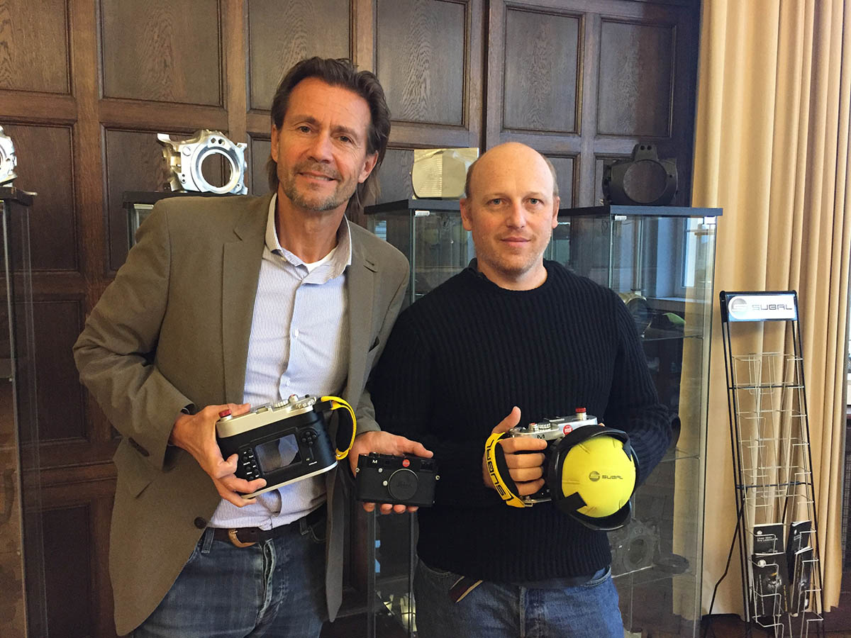 On left, Harald Karl owner of Subal with prototype of Subal for Leica underwater housing and on right, myself, unexpected and very proud to be first owner of Subal Leica underwater housing.