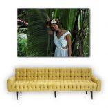 "Vahine and banana palm. 120cm x 180cm - 3' 15/16"" x 5' 7/8"" aprox. ©Loïc Dorez"